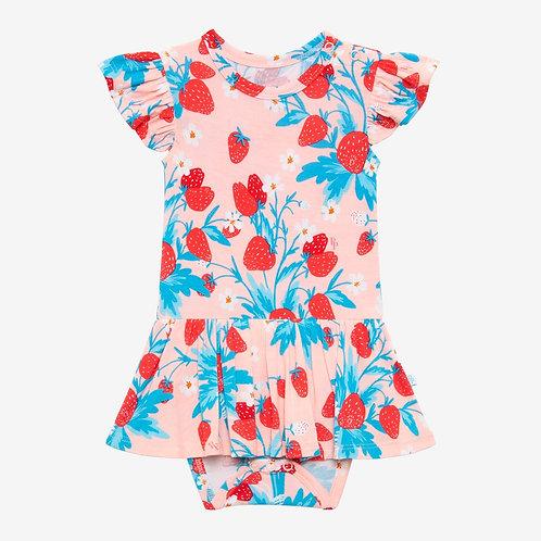 Strawberry Ruffled Capsleeve Twirl Skirt Bodysuit