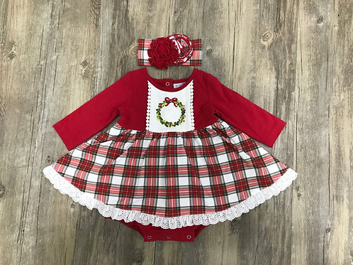 Tartan Plaid Embroidered Wreath Dress Bubble