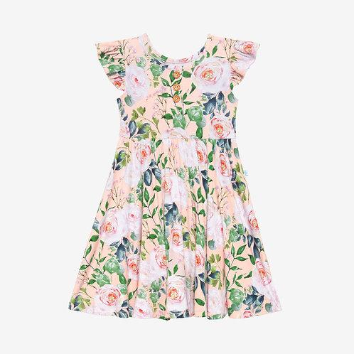 Harper Ruffled Capsleeve Henley Twirl Dress