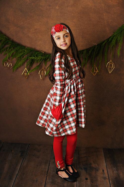 Tartan Plaid Pocket Dress w/leggings