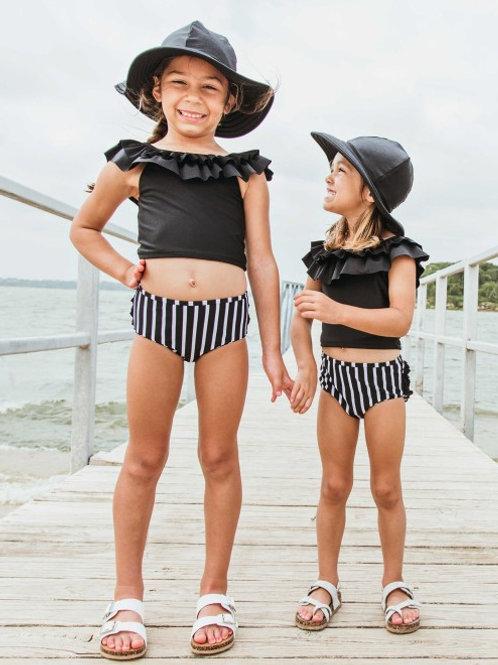 Black & White Stripe Ruffled Tankini