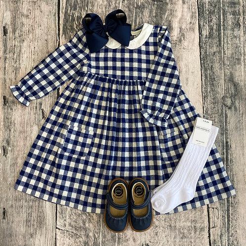 Pretty Gingham Dress Navy