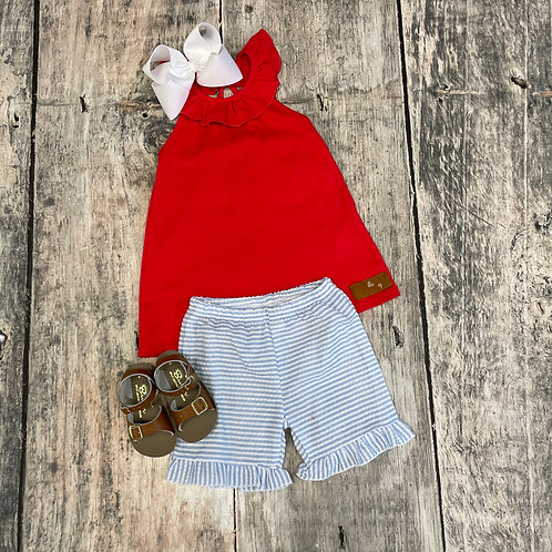 Lily Short Set-Red/Blue Stripe