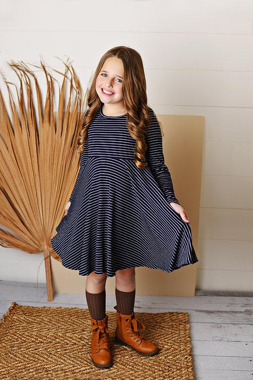 Navy Stripe Ribbed Knit Dress