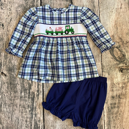 Tractor Fun Smocked Long Sleeve Top & Bloomer Set