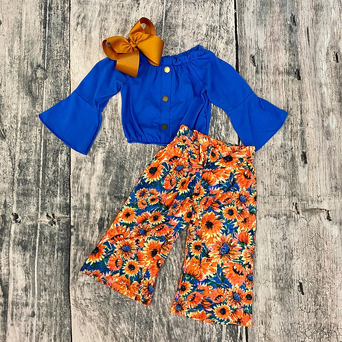 Blue Bell Sleeve Top & Sunflower Paper Bag Pants