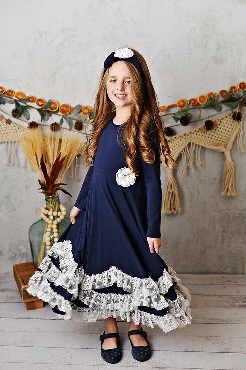 Midnight Bloom Maxi Twirl Dress
