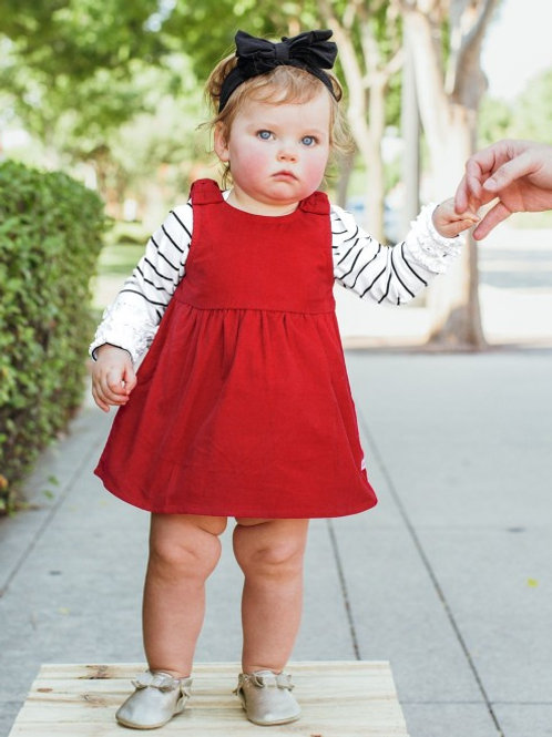 Red Corduroy Jumper Bow Dress