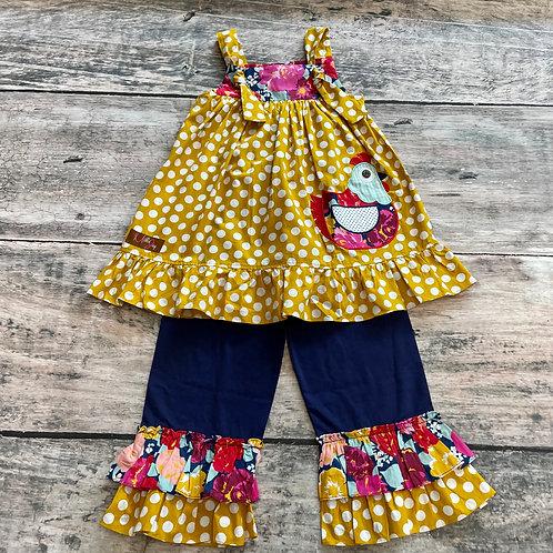 Chicken Appliqué Knot Tie Pant Set