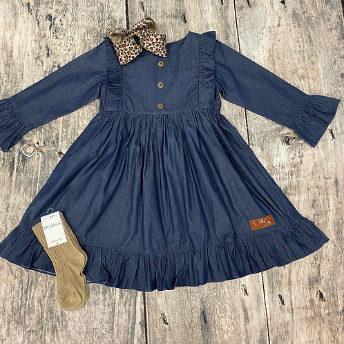 Chambray Long Sleeve Dress