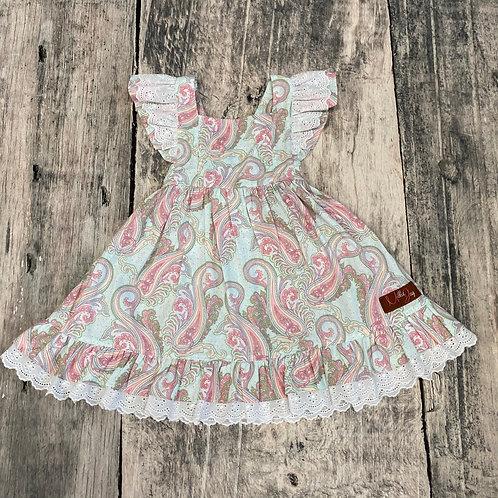 Pink Paisley Dress w/lace