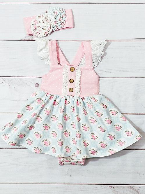 Pink Rose Bubble Dress w/headband
