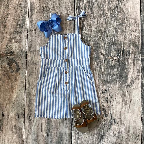 Kinsley Romper Blue & White Stripe