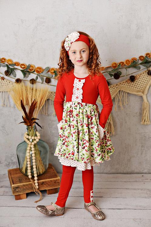 Winter Enchantment Holly Frill Pocket Dress w/leggings