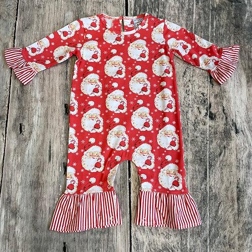 Santa Knit Long Sleeve Romper