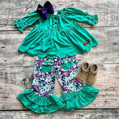 Emerald Floral Pant Set