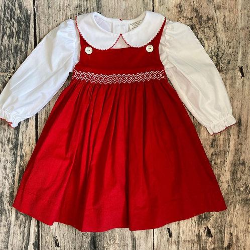 Red Cord/White Shirt Geo Dress Set