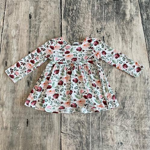 Plum Floral Long Sleeve Dress