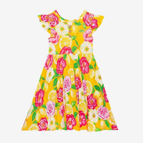Annika Ruffled Capsleeve Henley Twirl Dress