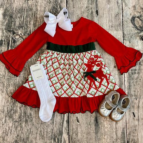 Regal Reindeer Applique Dress