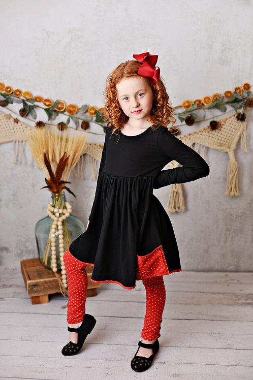 Essentials Black & Red Pocket Tunic w/leggings