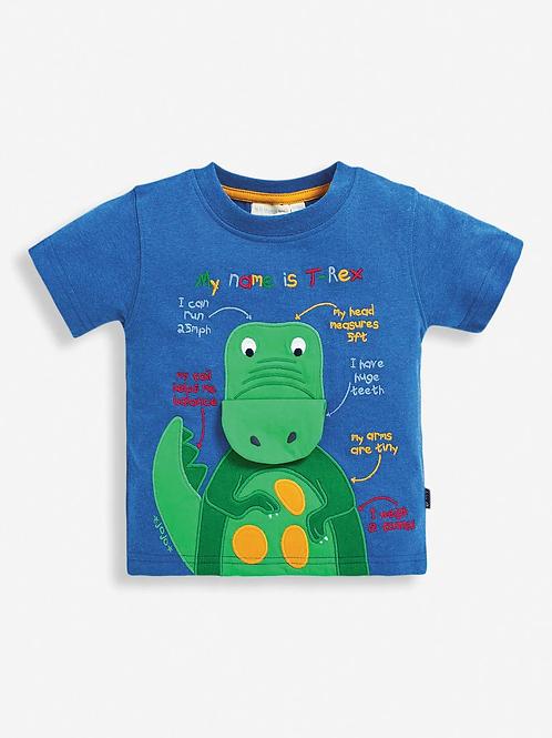 T-Rex Appliqué T-Shirt Cobalt