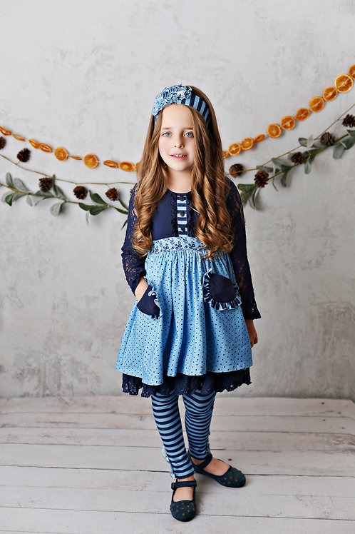 Midnight Bloom Lace Dress set with leggings and matching headband