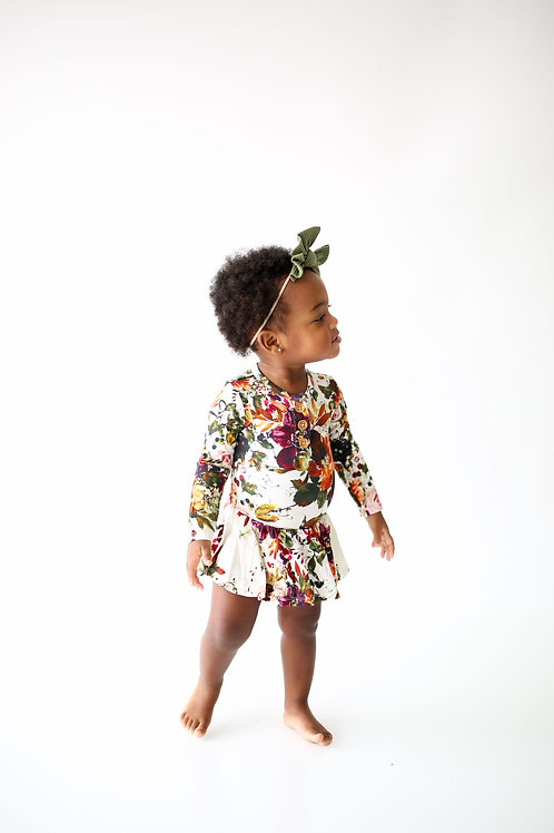 Corinne Long Sleeve Henley Twirl Skirt Bodysuit