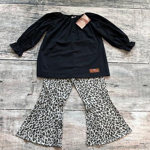 Leopard Bell Bottom Pant Set