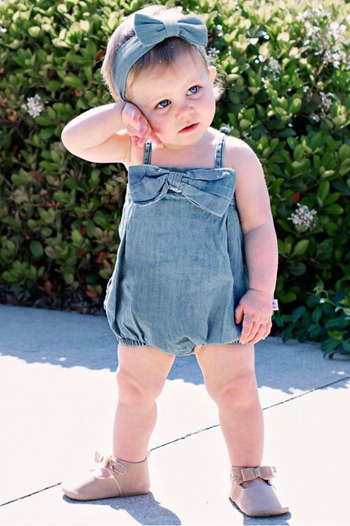 Light Wash Denim Bow Front Bubble Romper