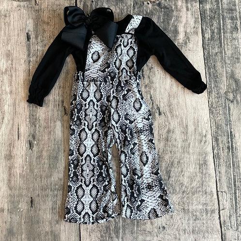 Snake Skin Overalls w/Black Shirt