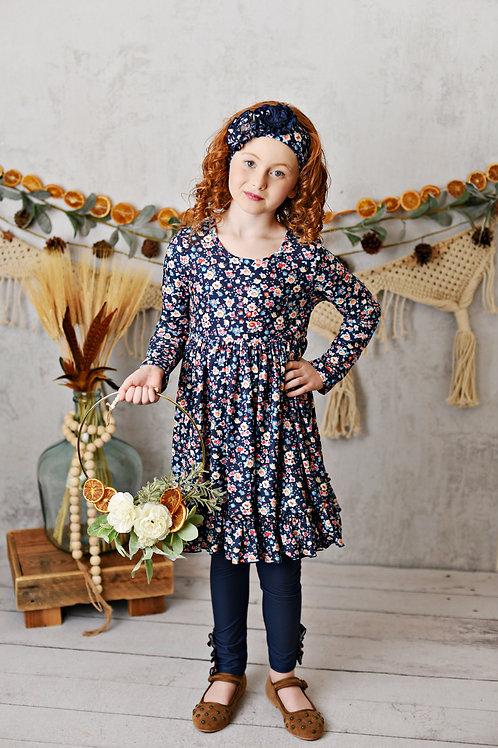 Harvest Fields Navy Bloom Butter Knit Dress w/legging and headband
