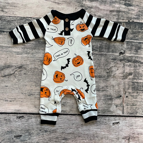 Bats & Pumpkins Long Sleeve Henley Romper