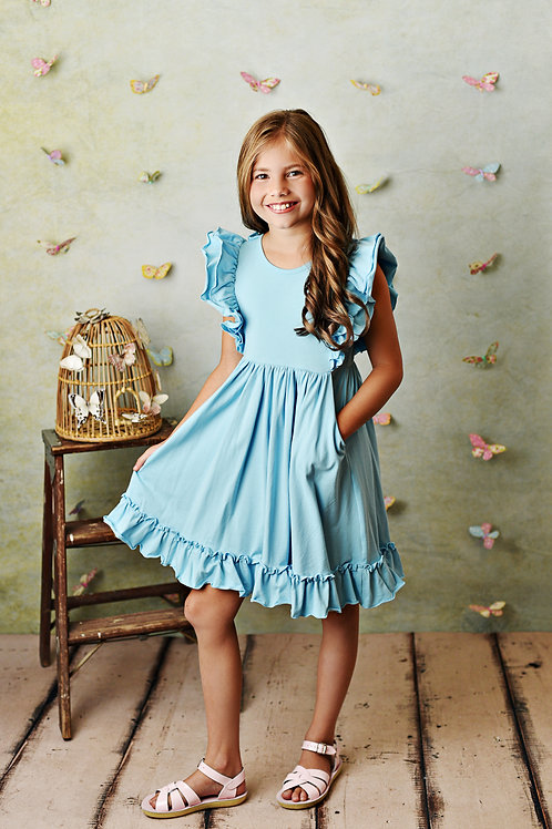 Bella Pocket Dress Powder Blue