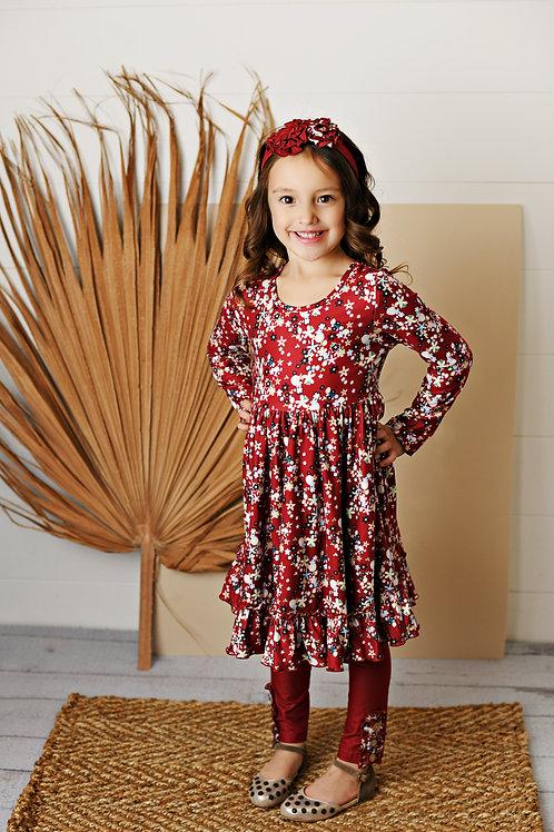 Butterknit Crimson Floral Dress w/leggings