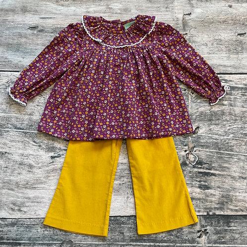 Rust Floral Lace Neck Pant Set