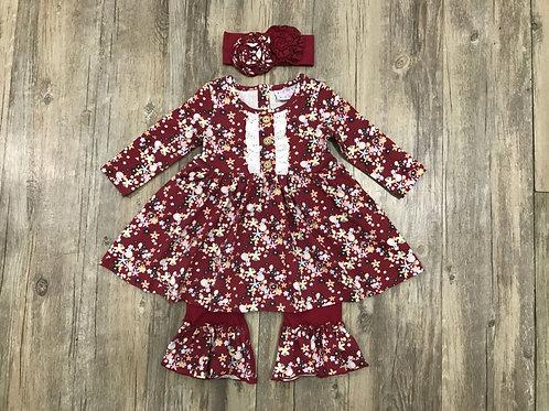 Crimson Floral Dress Longall