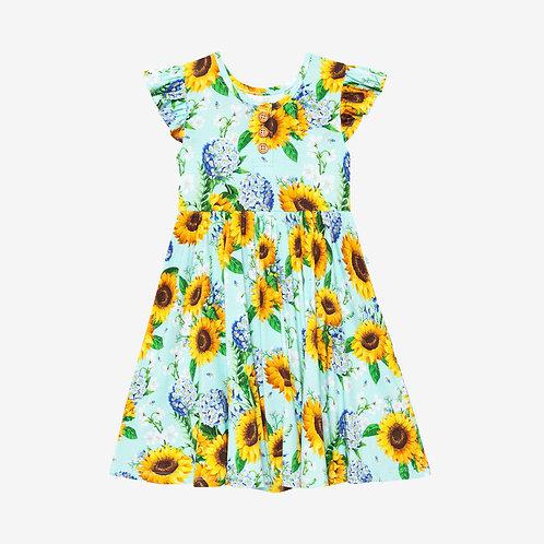 Sunny Ruffled Capsleeve Henley Twirl Dress