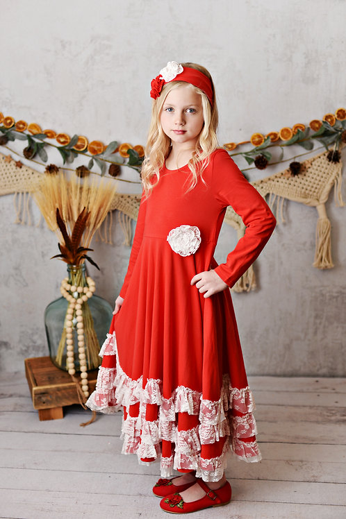 Winter Enchantment Red Maxi Twirl Dress with white lace