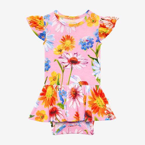Kaileigh Ruffled Capsleeve Basic Twirl Skirt Bodysuit