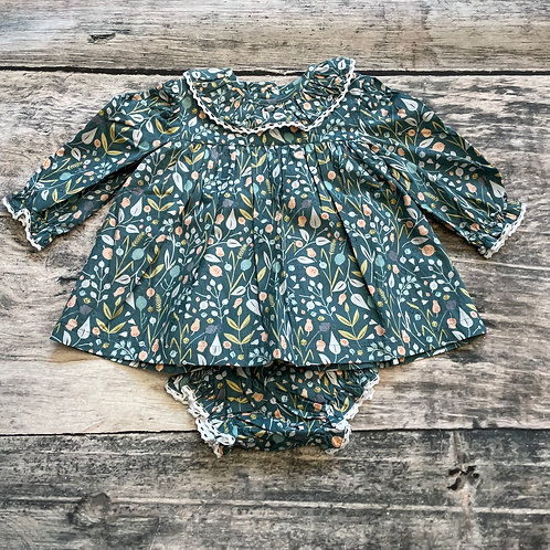 Gray Floral Lace Bloomer Set
