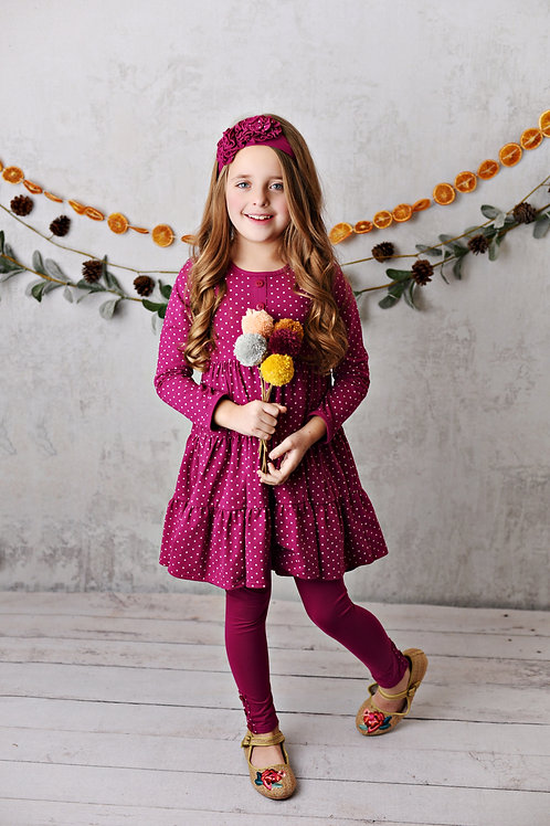 Mulberry Fields Dot Dress with leggings