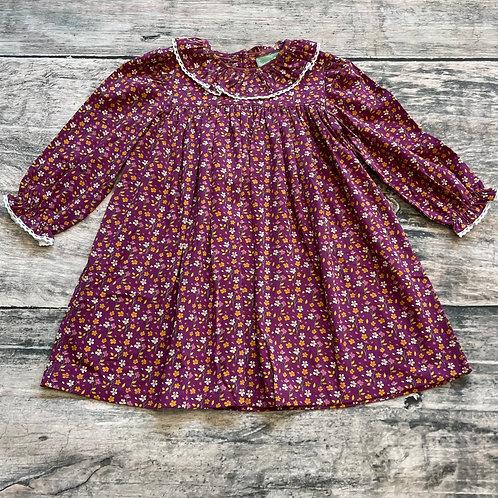 Rust Floral Lace Neck Dress