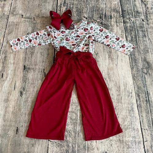 Plum Floral Bodysuit w/pants