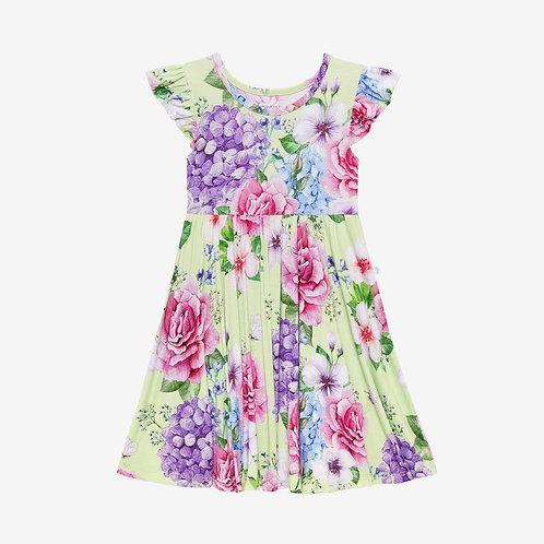 Georgina Ruffled Capsleeve Twirl Dress