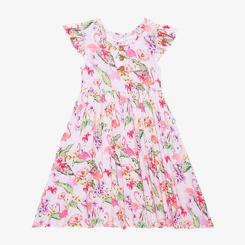 Leilani Ruffled Capsleeve Henley Twirl Dress