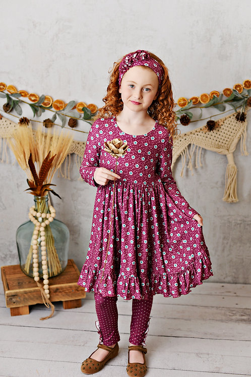 Mulberry Fields Floral Butter Knit Dress with leggings