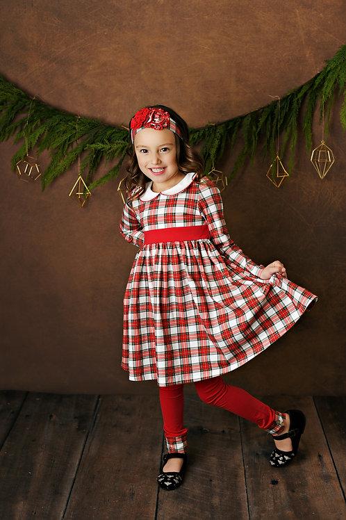 Tartan Plaid Petal Dress w/leggings
