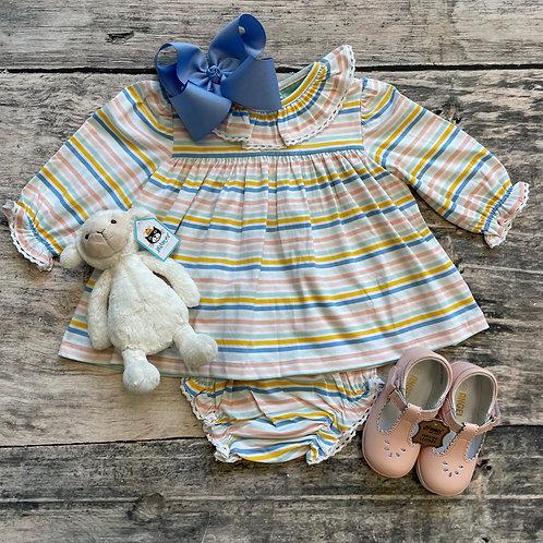 Pastel Multi Knit Stripe Bloomer Set