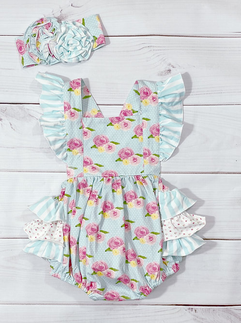 French Rose Bubble Romper